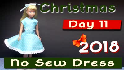 Christmas 2018 Day 11 ~ No Sew Dress for 60's Skipper