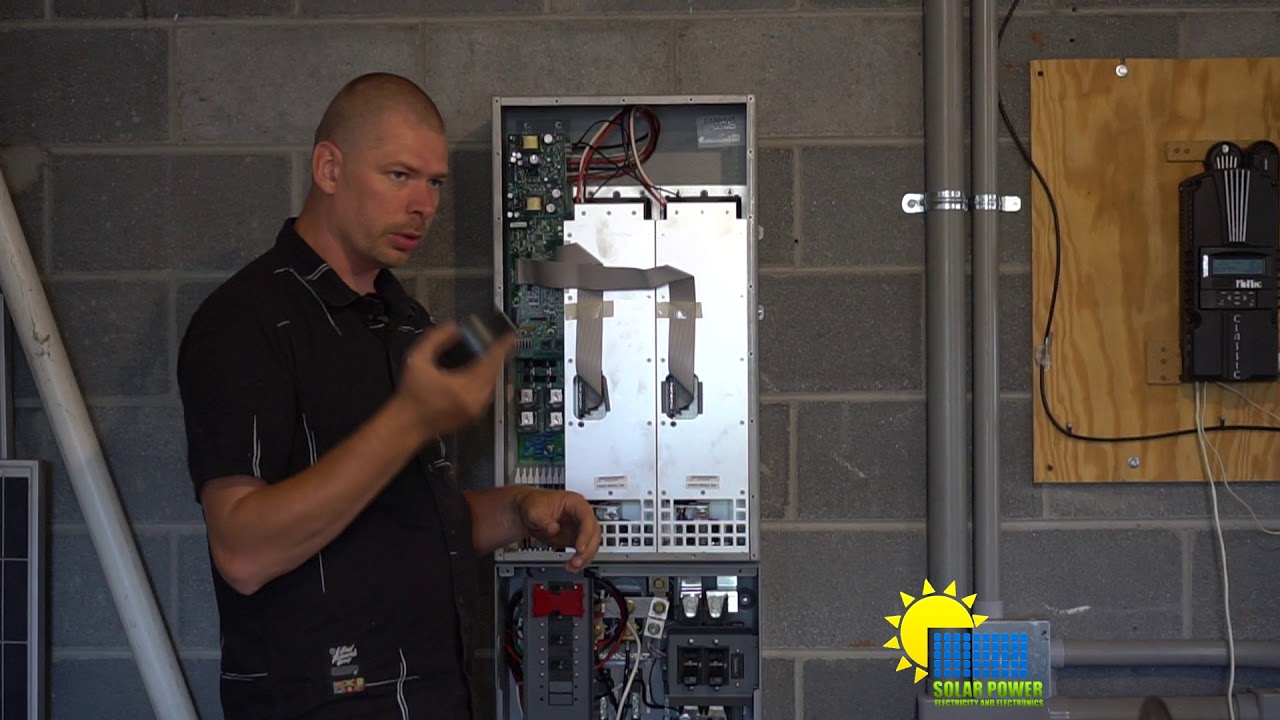 Outback Inverter Installing wire for high voltage and talking about the Outback load center.